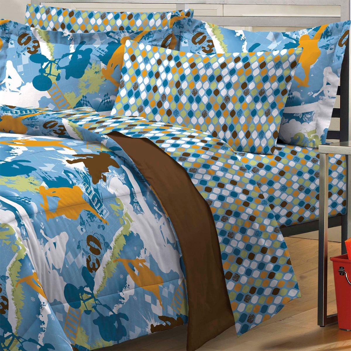 extreme sports full bedding set 7pc skateboarding bmx bed amazon
