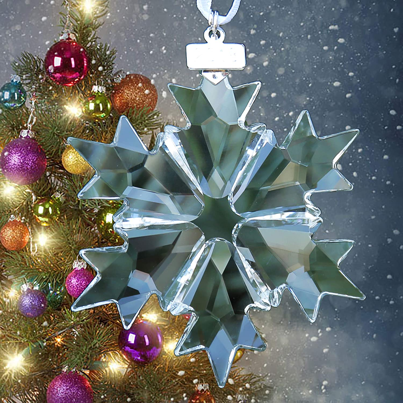 XIANGBAN 2018 Christmas Crystal Snowflake Decoration Car Rearview Mirror Beauty Charm Pendant AB