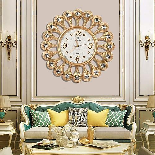 AHUA Vintage Retro Gold Flower Design Decorative Wall Clock, 17 Round Classic Clock, Digital Wall Clock, Silent Non-Ticking Quartz Decorative Battery Operated Wall Clock HD Glass Easy to Read