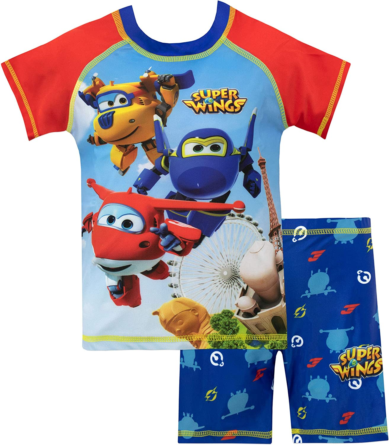 Super Wings Boys' Jett Donnie and Jerome Two Piece Swim Set