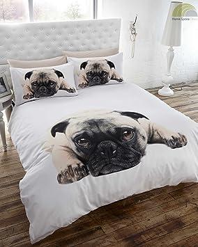 Pug - Juego de funda nórdica y funda de almohada para cama individual con diseño de perro, blanco: Amazon.es: Hogar