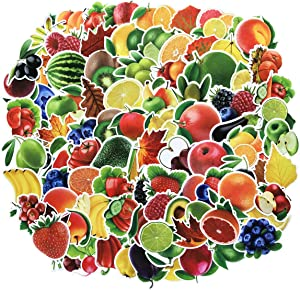 Cute Water Bottle Stickers Fruits Vegetables Stickers 100pcs Variety Vinyl Car Motorcycle Bicycle Luggage Decal Graffiti Patches Skateboard Waterproof Stickers(Fruits and Vegetables)