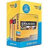 Rosetta Stone Learn Spanish Bonus Pack Bundle| Lifetime Online Access + Grammar Guide + Dictionary Book Set| PC/Mac Keycard