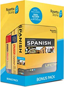 Rosetta Stone Learn Spanish Bonus Pack Bundle| Lifetime Online Access + Grammar Guide + Dictionary Book Set| PC/Mac Keycard
