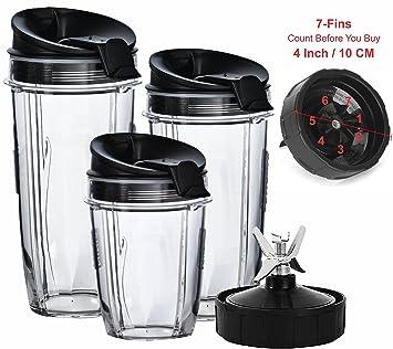 Nutri Ninja licuadora tazas y hoja (7-fins Juego de sólo) | Juego