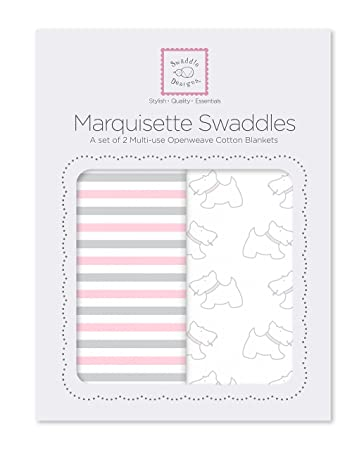SwaddleDesigns Marquisette Swaddling Blanket Little Bunnie Premium Cotton Muslin Pastel Pink