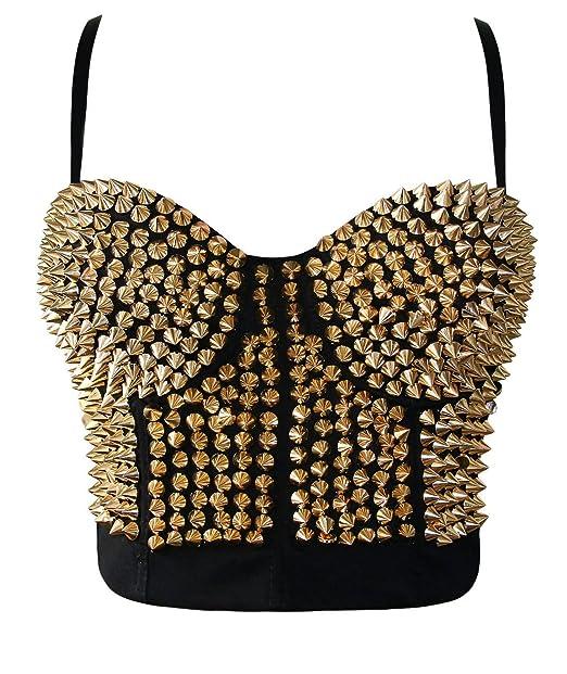 75c1d5e928dbe Ecilu Women s Striking Burlesque Studded Rivet Dance B Cup Bustier Sport Bra  Gold Small