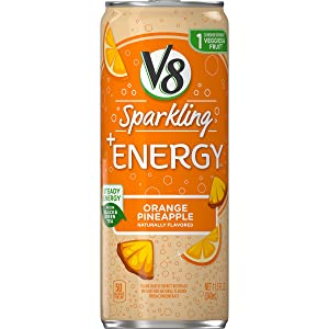 V8 Sparkling +Energy, Healthy Energy Drink, Natural Energy from Tea, Orange Pineapple, 11.5oz Ounce Can