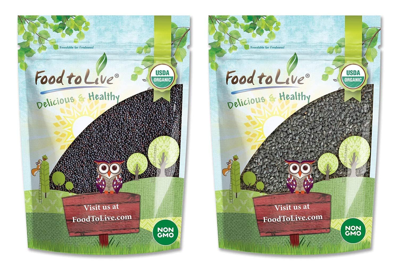 Organic Black Seeds Bundle- Organic Black Mustard Seeds, 1.5 Pounds and Organic Black Cumin Seeds, 1 Pound - Non-GMO, Raw, Whole, Vegan, Great for Cooking