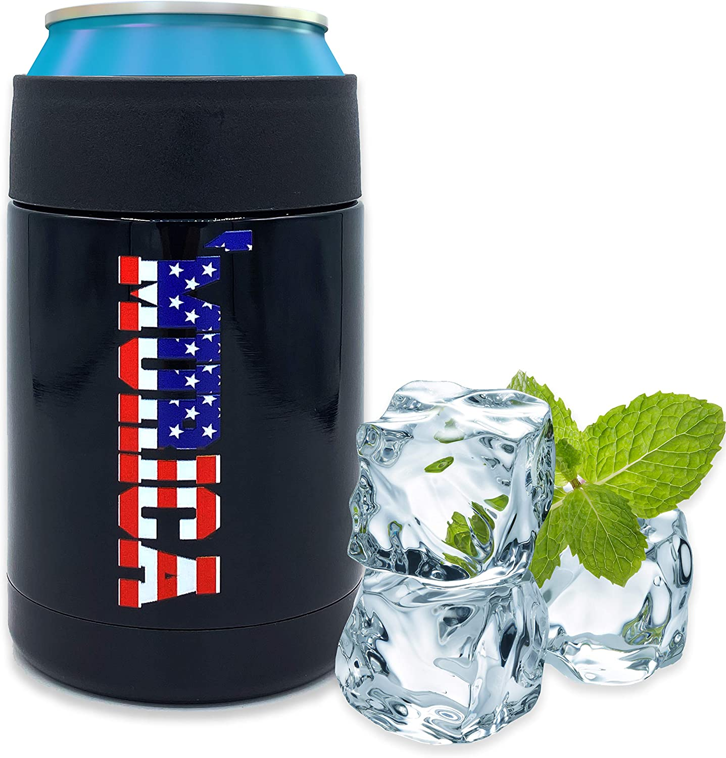 Beer Coozies for Cans - Murica American Flag Beer Can Insulator   12 oz Metal Can Coozie Insulated Can Cooler, Stainless Steel Drink Thermos Holder   Beverage Rambler Coolers, Dad Coozy Gift Cozies
