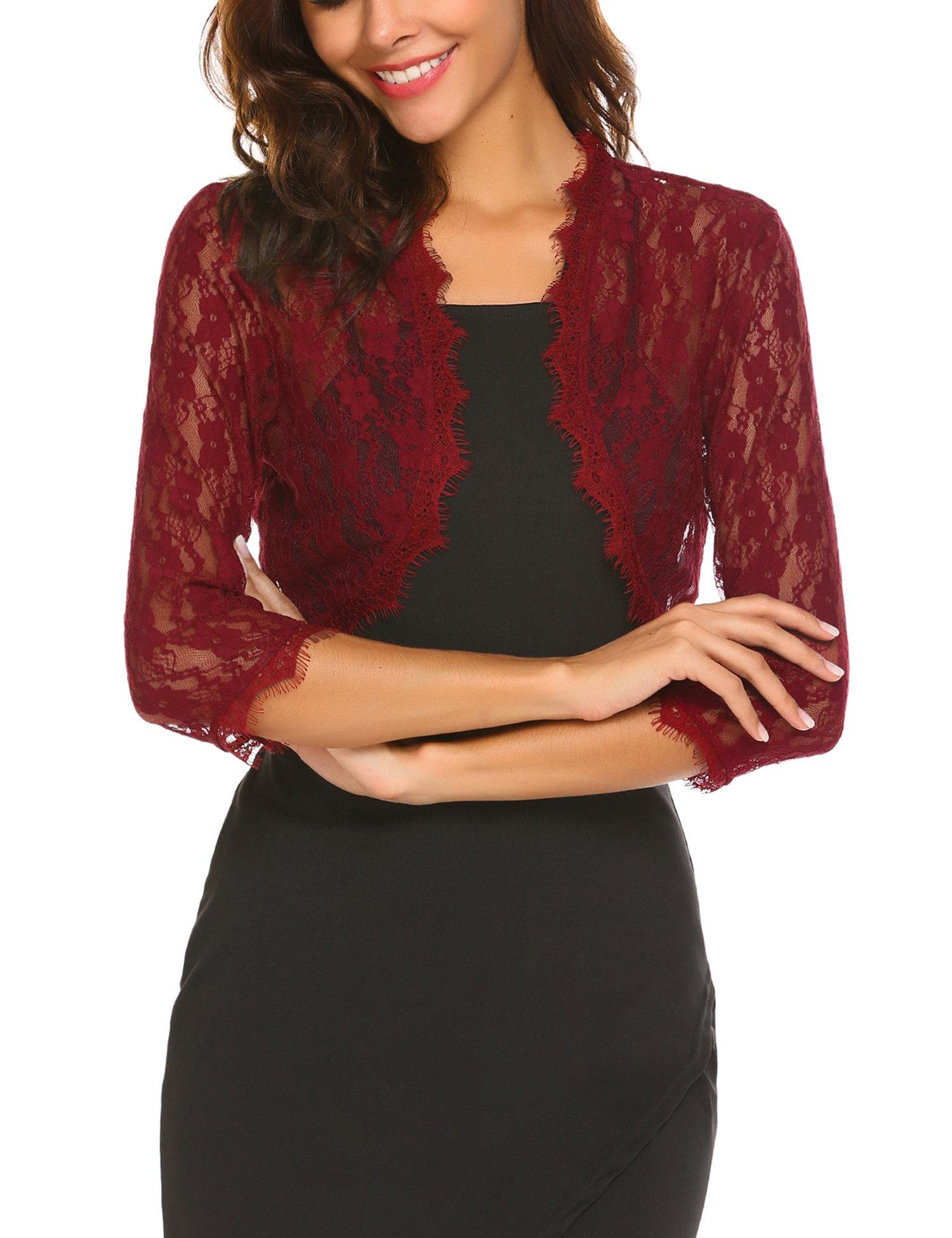 SE MIU Women's 3/4 Sleeve Lace Bolero Shrug Crochet Cardigan Top