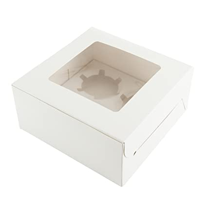 Ibex Retail 10 x Blanco Cajas para Cupcakes con Capacidad para 4 Cupcakes