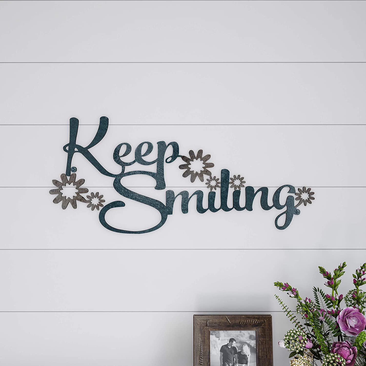 Lavish Home Metal Cutout-Keep Smiling Wall Sign-3D Word Art Home Accent Decor-Perfect for Modern Rustic or Vintage Farmhouse Style