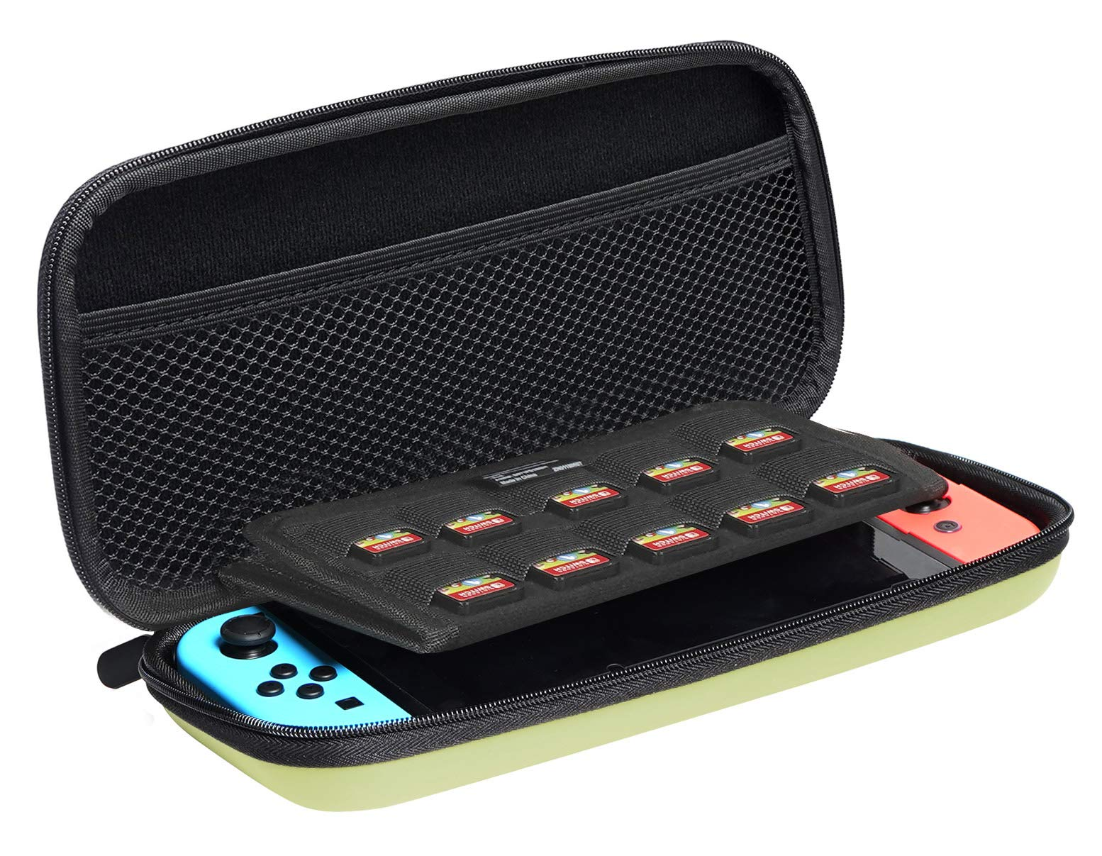 Amazon Basics Carrying Case for Nintendo Switch and Accessories - 10 x 2 x 5 Inches, Neon Yellow