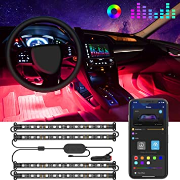 Rainbow Car LED Strip Light New Update Car Interior Led Lights RF Remote Control Unique Colorful Dynamic Car Interior Lights Car Charger Included Waterproof Music Under Dash Lighting Kits