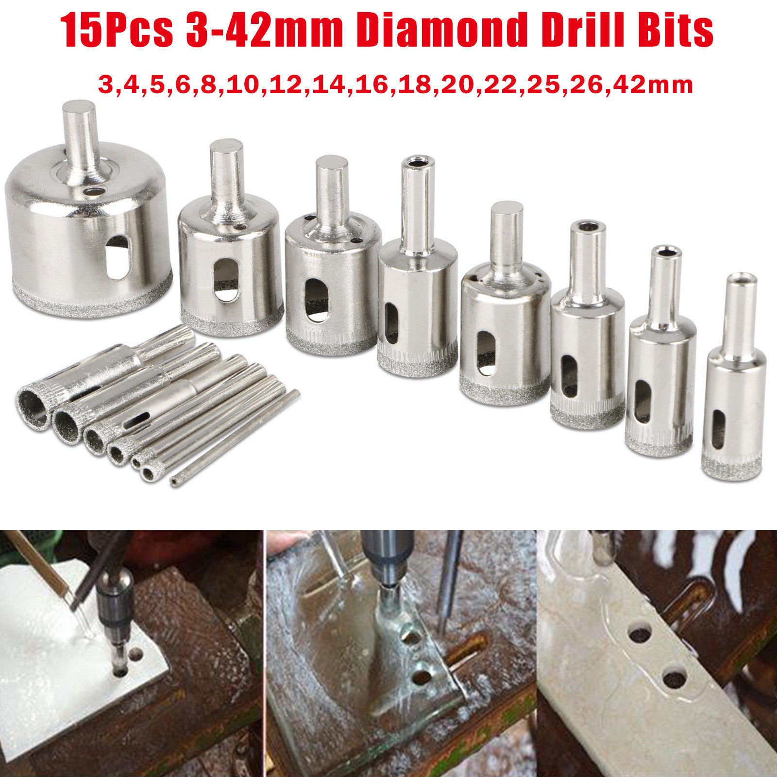 EEEKit 15PCS 3-42mm Diamond Coated Core Hole Saw Drill Bit Set Tools for Glass Marble Tile Granite Neat Smooth Metal Material