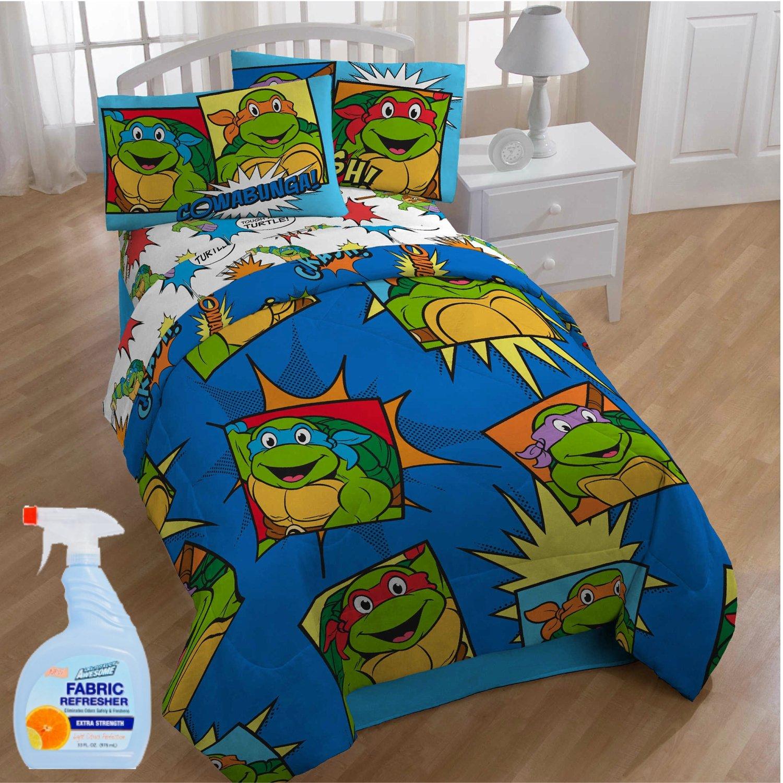 NEW! Nickelodeon Teenage Mutant Ninja Turtles Team Turtles 4-Piece Twin Kids Bedding Comforter Set with Fabric Refresher