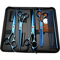 Pettom 5 PCS Professional Pet Dog Grooming scissors suit Cutting&Curved&Thinning Shears for Dogs and Cats (Blue)