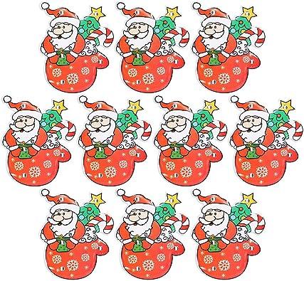 Amosfun Noël Père Noël Broche LED Brillant Luminescent Lumineux Badge Cadeau De Noël pour Enfants 10 PCS