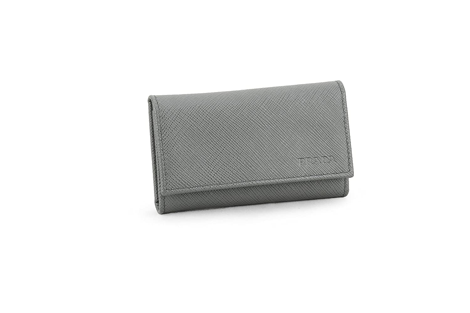 a7506a7e79b644 Prada Saffiano Leather Key Holder Wallet, Mercurio (Grey) at Amazon Women's  Clothing store: