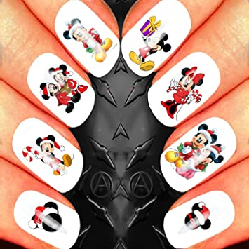mickey and minnie mouse disney characters christmas nail art set stickers decals water transfers xmas - Disney Christmas Nails
