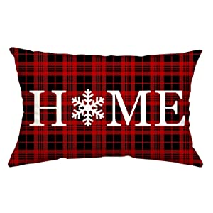 GTEXT Christmas Decor Throw Pillow Cover Holiday Decor Plaids Home Cuhion Cover Case for Couch Sofa Home Decoration Fall Pillows Linen 12 X 20 Inches
