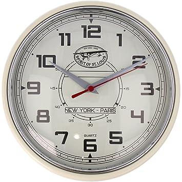Spirit of St. Louis Reloj de pared, cuarzo, Vintage Style Beige Diámetro 24 cm Reloj en diseño retro reloj de cocina: Amazon.es: Hogar