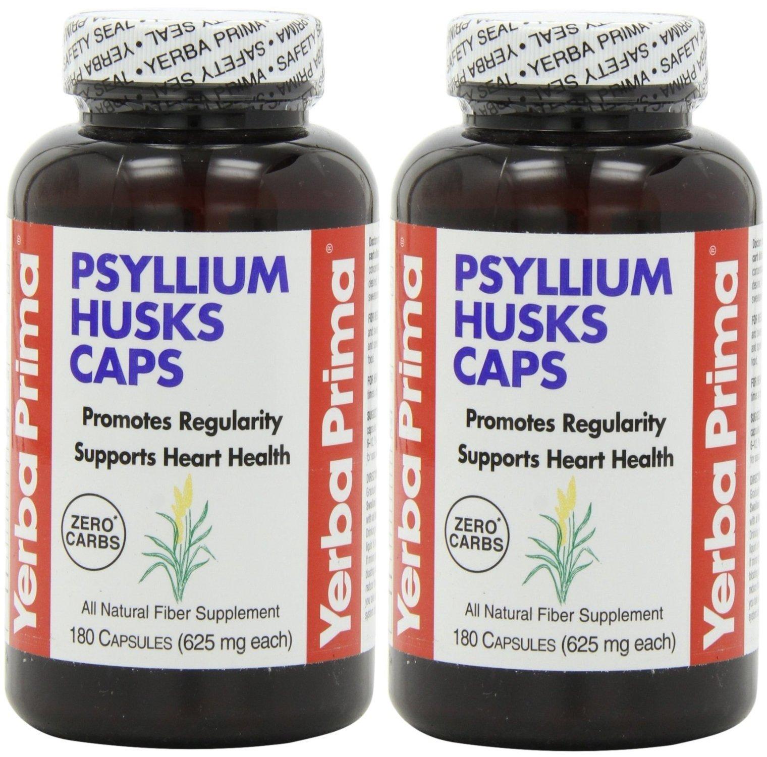 Yerba Prima Psyllium Husks , 625 Mg, 180 Capsules (2 Pack)