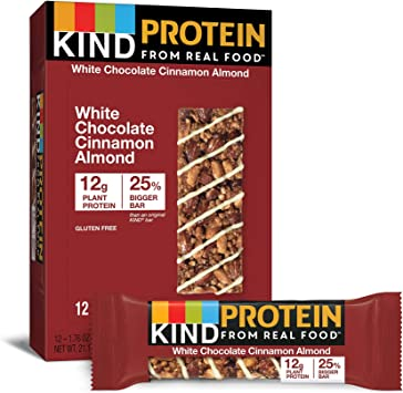 Kind Bar - Barras de proteína sin gluten White Chocolate Cinnamon Almond - 12 Barras