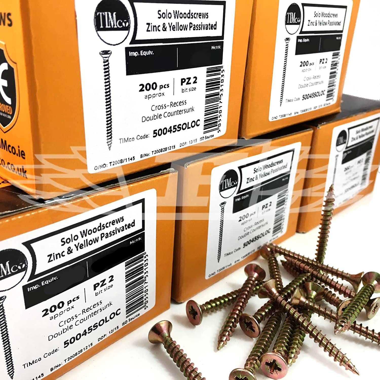 Box Of 200 Reisser Cutter Csk Pozi Yellow Woodscrew 4.5 X 35mm CP