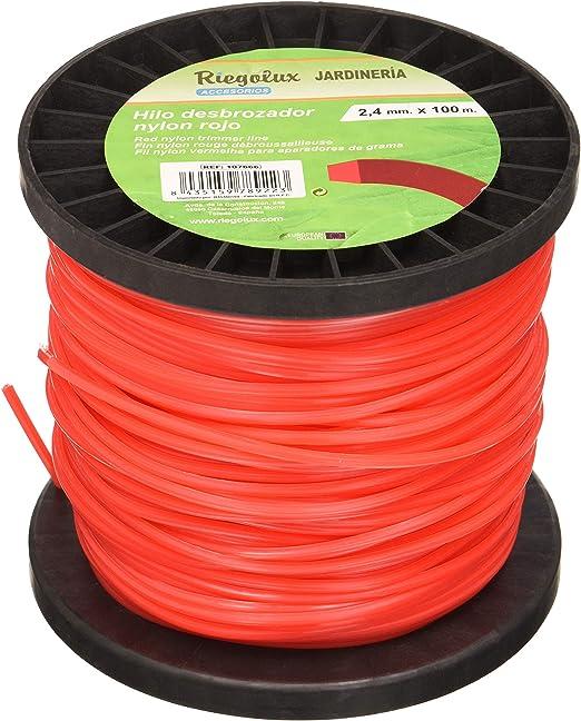Riegolux 107666 Hilo Desbrozadora Nylon Cuadrada, Rojo, 2.4 mm x 100 m: Amazon.es: Jardín