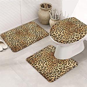 OneHoney 3-Piece Bath Rug and Mat Sets, Sexy Leopard Skin Non-Slip Bathroom Decor Doormat Runner Rugs, U-Shaped Toilet Floor Mats, Toilet Seat Cover Wild Animal Texture