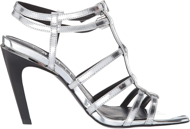 Calvin Klein Damen Gili Silver Metallic Box Leather