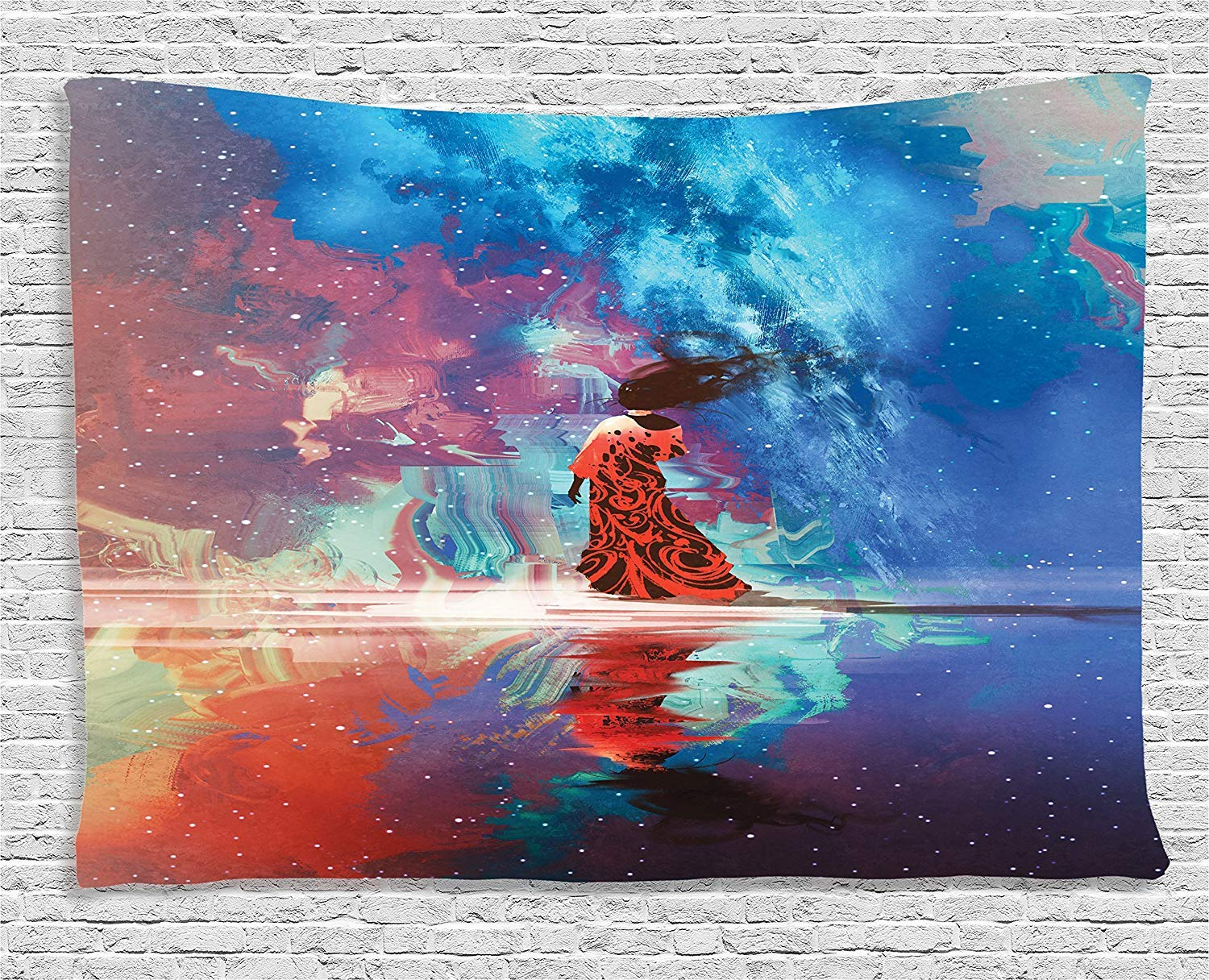 Fantasy Art House Decor Tapestry by Ambesonne Coral Blue Woman in Dress on Water under Galaxy Earth with Star Spiritual Wall Hanging for Bedroom Living Room Dorm 60WX40L Inches