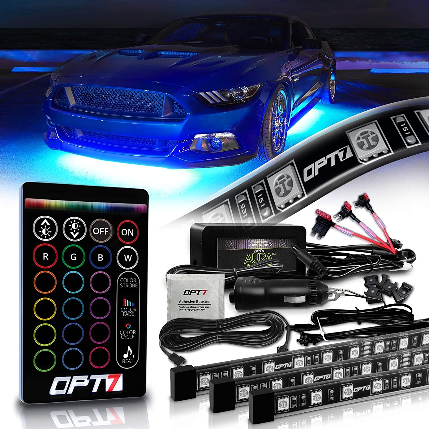 OPT7 Aura Underglow for Cars Exterior Under Glow Neon Light Kit for Trucks 4pc Flexible LED Strip Lighting Kit Soundsync 2 x 48 inch + 2 x 36 inch w//Remote Full-Color Spectrum