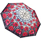 GALLERIA Umbrella Folding Stained Glass Poppies, 1 EA