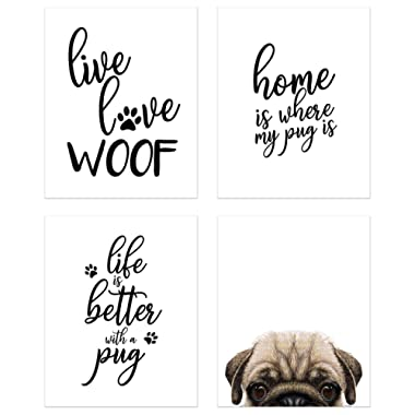 Summit Designs Pug Wall Art Décor Prints – Set of 4 (8x10) Unframed Poster Photos – Dog Puppy Quotes
