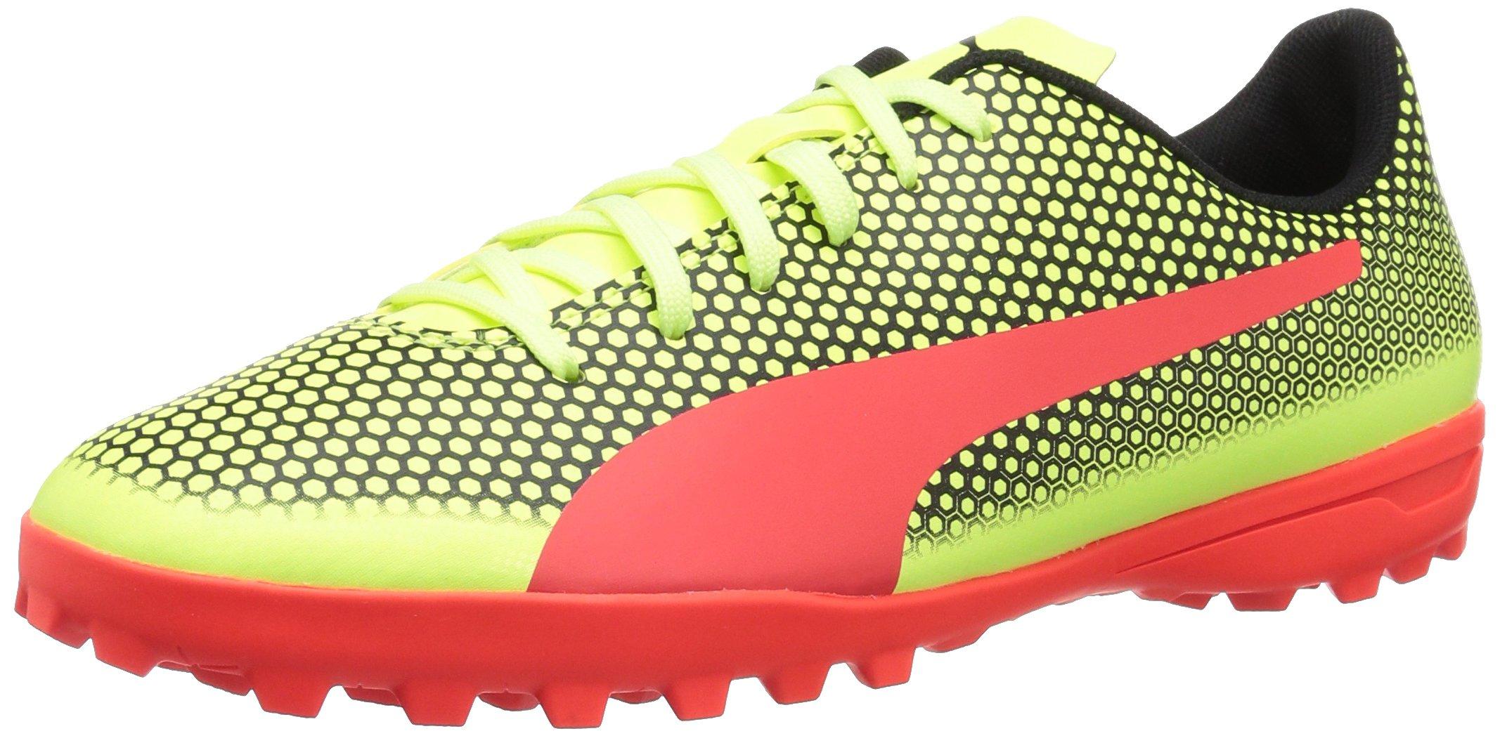 PUMA Men's Spirit Turf Trainer Soccer Shoe, Fizzy Yellow-Red Blast Black, 8.5 M US by PUMA