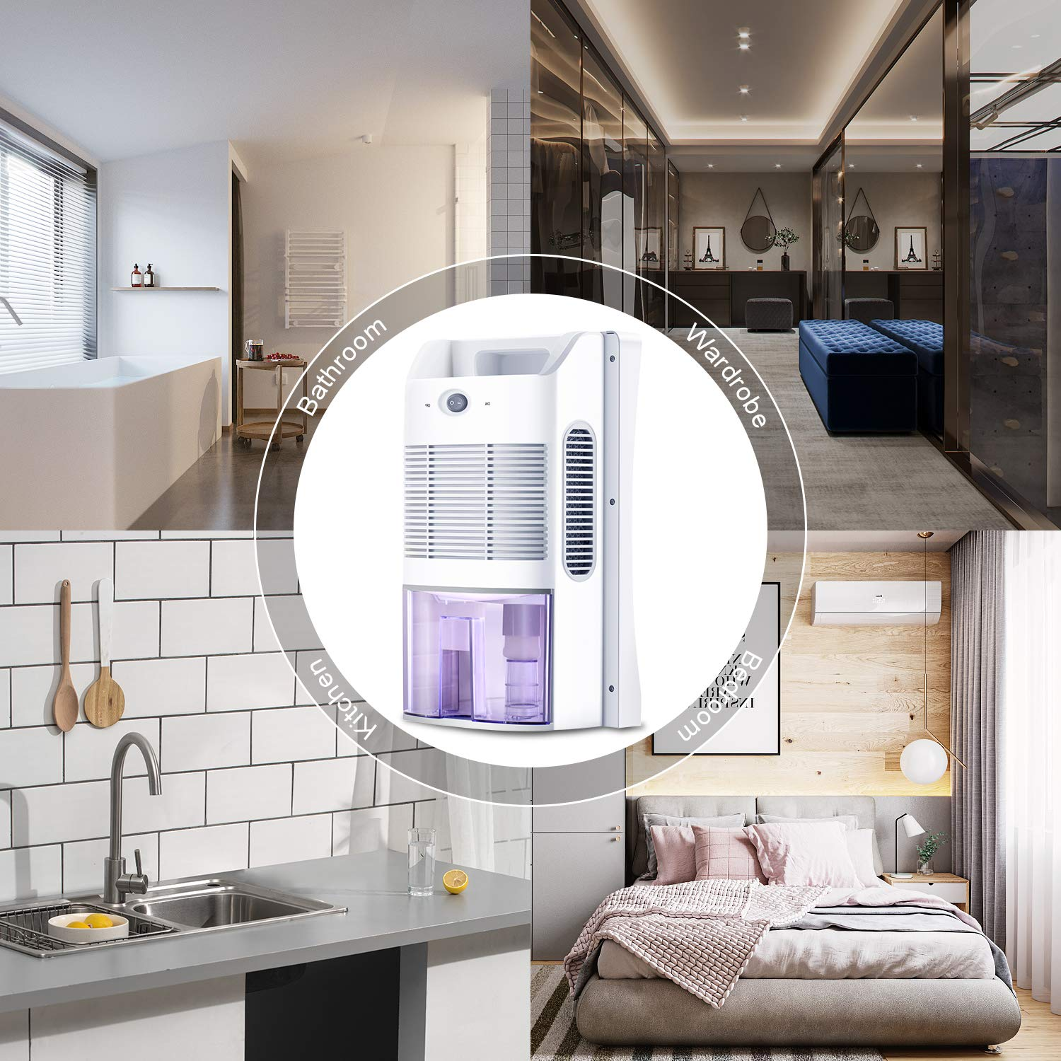 Portable Low Weight Whisper-Quiet Mini Electric Home Dehumidifier for Moisture Mould Damp in Bedroom 300 sq ft Gocheer Dehumidifier with 2000ml Water Tank Bathroom Office Garage,Garage