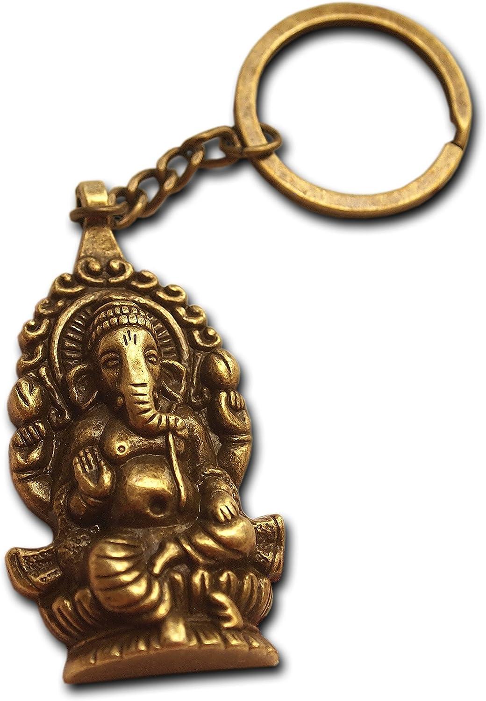 Ganesha Buddha Elephant Keyring Bronze Antique Plated Gift for Men Key Chain Hindu Gift God of New Beginnings Mythology Mysticism