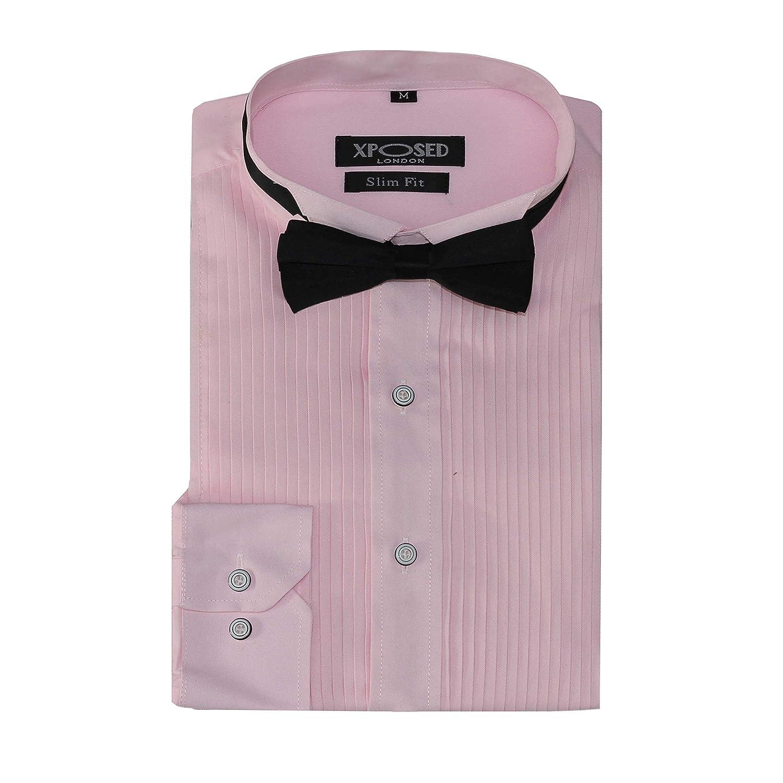 Xposed - Camisa de Vestir para Hombre con Esmoquin y Pajarita ...