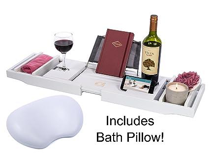 Amazon.com: Adorn Home Essentials Bamboo Bathtub Caddy Tray with ...