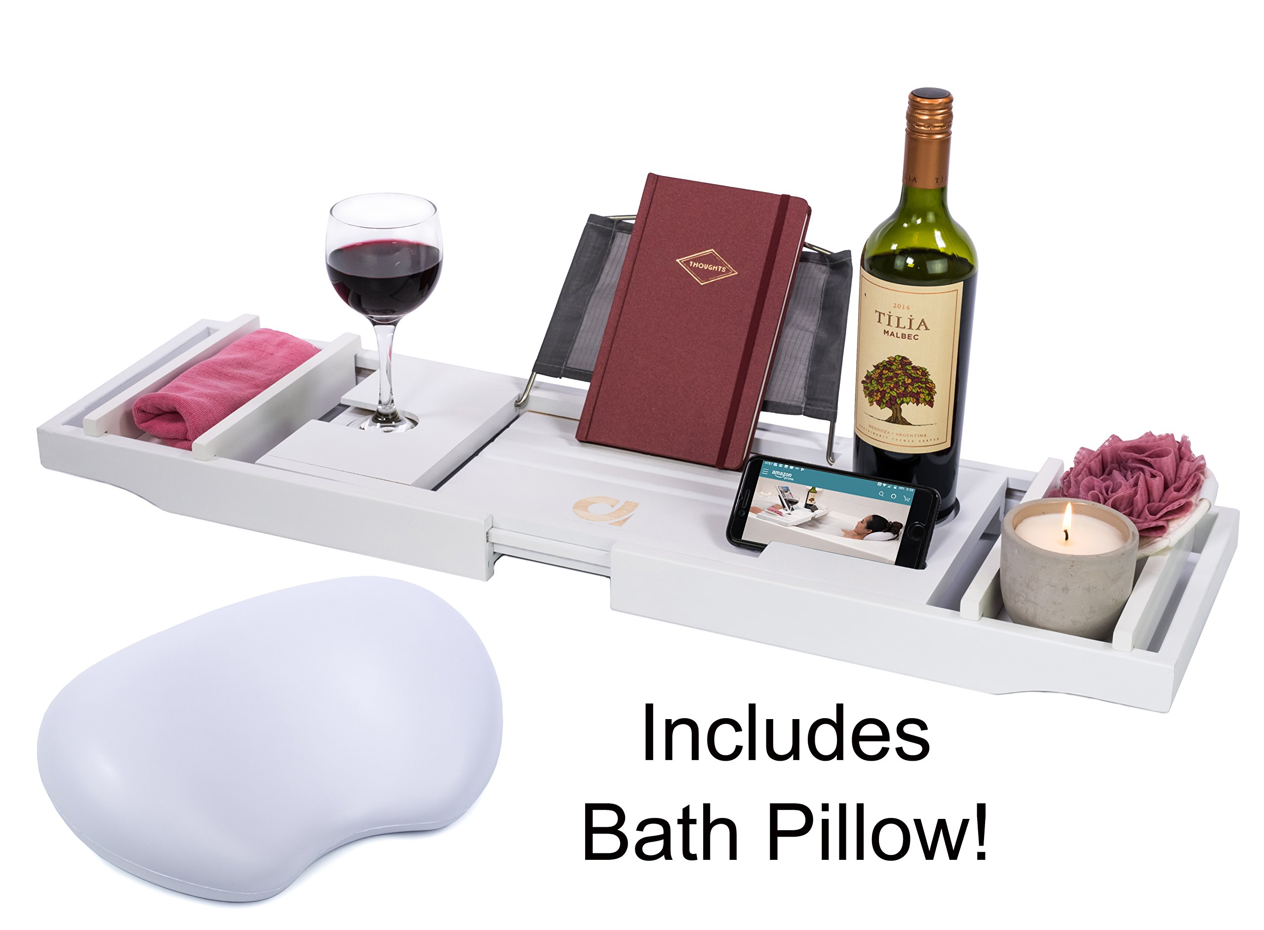 Adorn Home Essentials Bamboo Bathtub Caddy Tray with Wine and Cup Holder | Waterproof/Washable Bath Pillow with Suction Cup | One or Two Person Bath or Bed Adjustable Tray | Expands up to 43'' | White