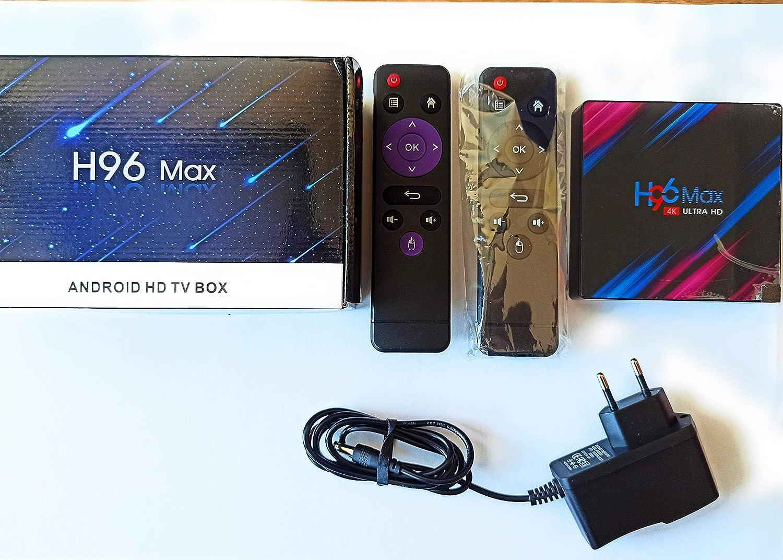 Android TV Box 9.0 [4 GB + 64 GB] Smart H96 Max TV Box con procesador RK3318 Quad-Core de 64 bits, compatible con 2,4 GHz/5,0 GHz, Dual WiFi Bluetooth 4.0 4 K