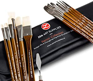 ZenART Oil & Acrylic Paint Brushes – 14pc Professional Set of Chungking Hog, & Badger/Japanese Synthetic Bristles incl Filbert, Flat, Rigger & More – Travel Pouch, Long Birchwood Handles, No Shedding