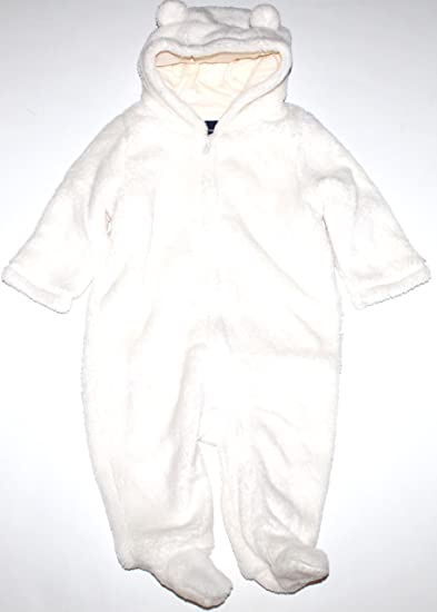 a6be7cb6f Baby Gap Infant Boy Girl Ivory Fleece Hooded & Footed Snowsuit Bunting (3-6