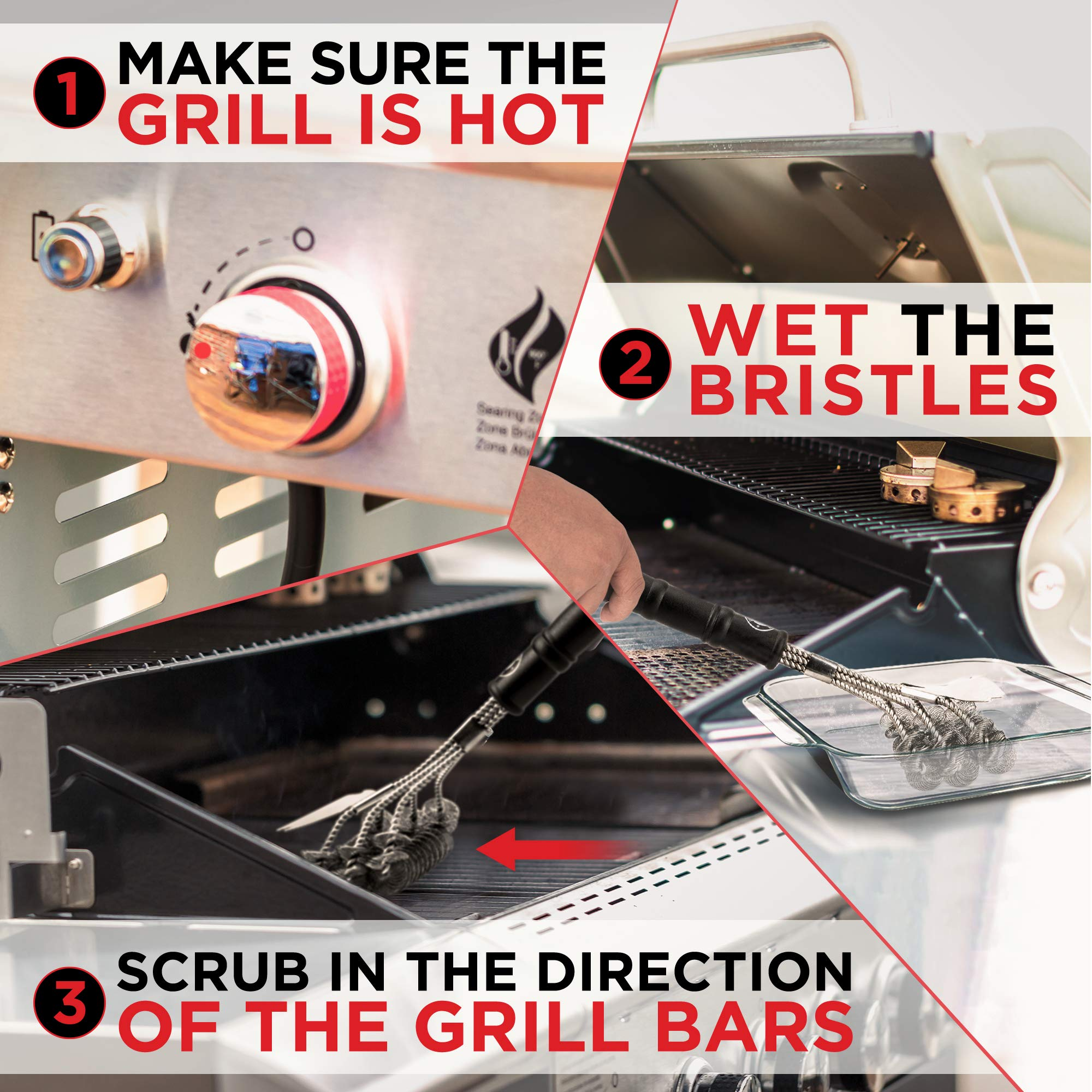 Alpha Grillers Grill Brush Bristle Free. Best Safe BBQ Cleaner with Extra Wide Scraper. Perfect 18 Inch Stainless Steel Tools for All Grill Types, Including Weber. Ideal Barbecue Accessories by Alpha Grillers (Image #6)