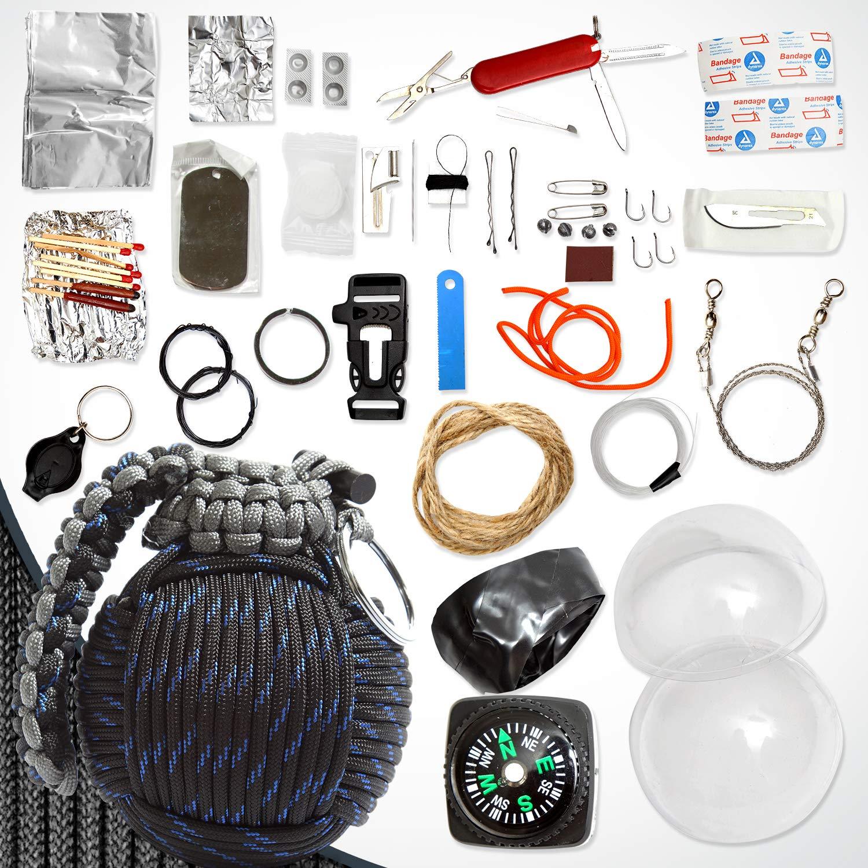 Holtzman's Survival Kit Paracord Grenade The #1 Best 48 Tool Emergency kit (Blue/Black) by Holtzman's Gorilla Survival (Image #9)