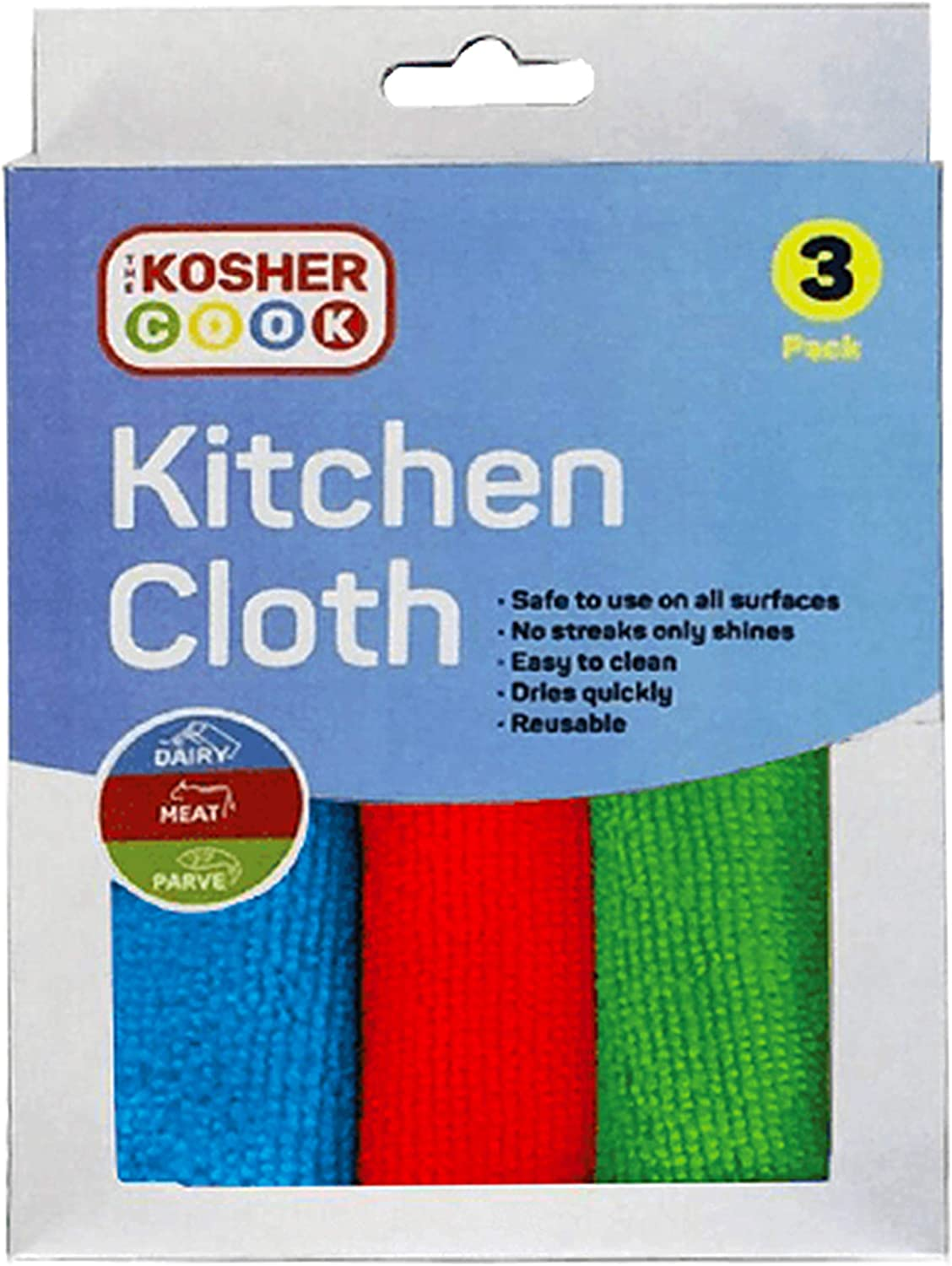 Microfiber Dish Cloths, 3 Pack – Red, Blue and Green Quick Drying, Highly Absorbent Rags for Cleaning and Drying Counters and Dishes – Color Coded Home and Kitchen Accessories by The Kosher Cook