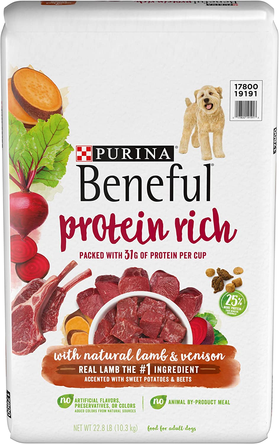 Purina Beneful Dry Dog Food, Protein Rich with Natural Lamb & Venison - 22.8 lb. Bag